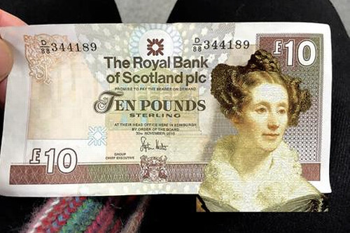 Mary Somerville tenner banknote mockup