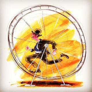 On The Hamster Wheel #illustration #cartoon #businessman #hamsterwheel #humour #humor #cartoon #drawgood #watercolor