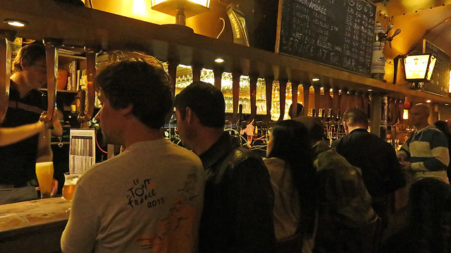 Inside showing off the multitude of beer taps in the Delirium Pub in Brussels, Belgium