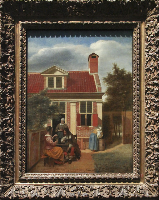 Figures in a Courtyard behind a House, Pieter de Hooch, c.1663-65