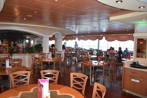 MSC Musica.  Deck 13 buffet restaurant, almost open 24 hours per day.