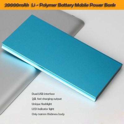 20000mAh azul 2A carga móvil potencia banco Li-Polymer batería cargador rápido