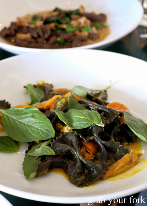 Licorice farfalle with rabbit and carrot at 10 William Street, Paddington