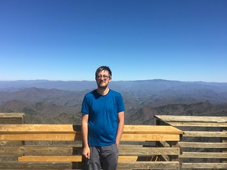 Me on the observation tower at the     top of Wesser Bald
