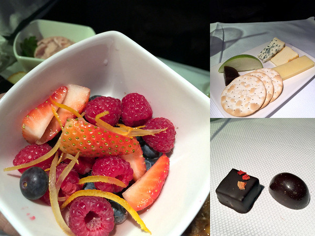 CX 777 300ER HKG to JNB- Seasonal Berries in Rose Syrup, Cheese Plate & Pralines