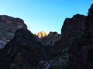 Sunrise on the North Kaibab Trail, on the 46-mile R2R2R run in the Grand Canyon