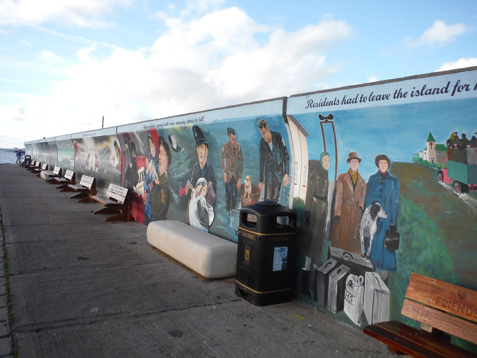 Westerly part of giant 1953 flood mural, Concord Beach, Canvey Island SWC Walk 258 Benfleet Circular (via Canvey Island)