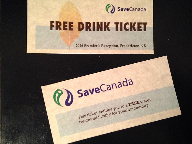 TICKET - SaveCanada FREE DRINK TICKET - free water treatment facility (Jan. 28, 2016)