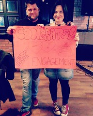 From the surprise engagement party. Thanks again to my cute-ass coworkers. You lot are the sweetest. (Yes, that's a poo on the sign - they know me well.)