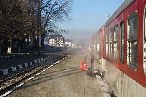 Passenger embrarking at Bansko station