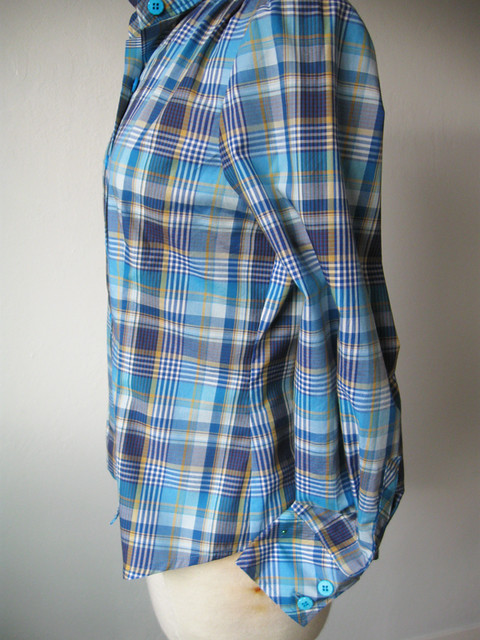 blue plaid shirt side seam