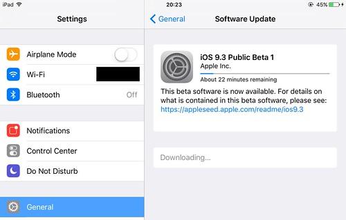 iOS 9.3 Beta1