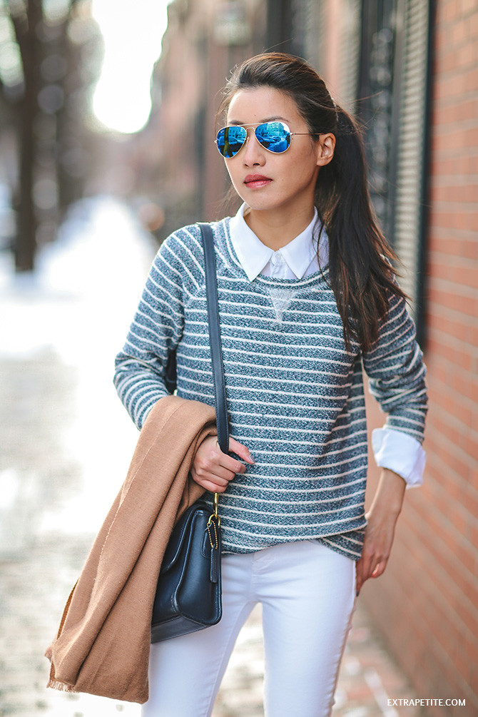 striped white jeans ray ban blue mirrored aviators winter outfit