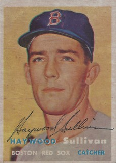 1957 Topps - Haywood Sullivan #336 (Catcher) (b. 15 Dec 1930 - d. 12 Feb 2003 at age 72) - Autographed Baseball Rookie Card (Boston Red Sox)