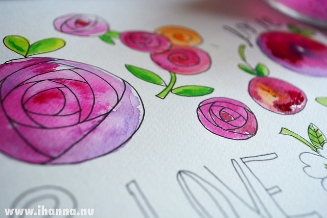 Watercolor roses close up