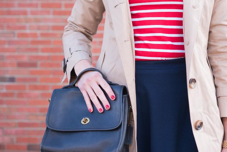 stripe shirt + navy skirt + navy tights + silk neck scarf + trench coat