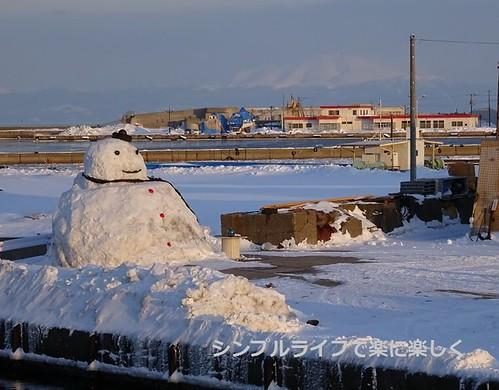 流氷、網走港雪だるま