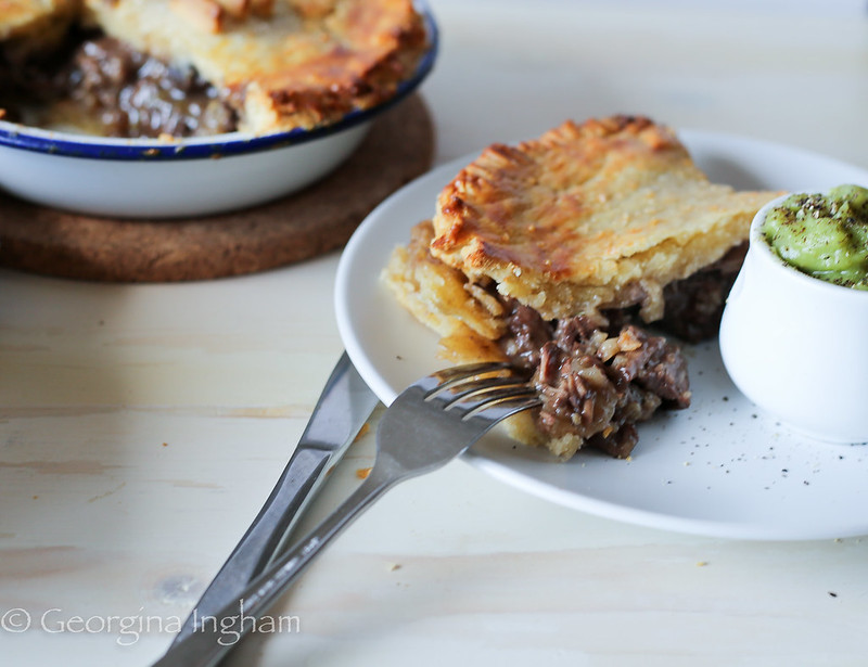 Georgina Ingham | Culinary Travels Photograph Steak and Ale Pie with Mushy Peas, Peasant Food? Maybe but glorious all the same