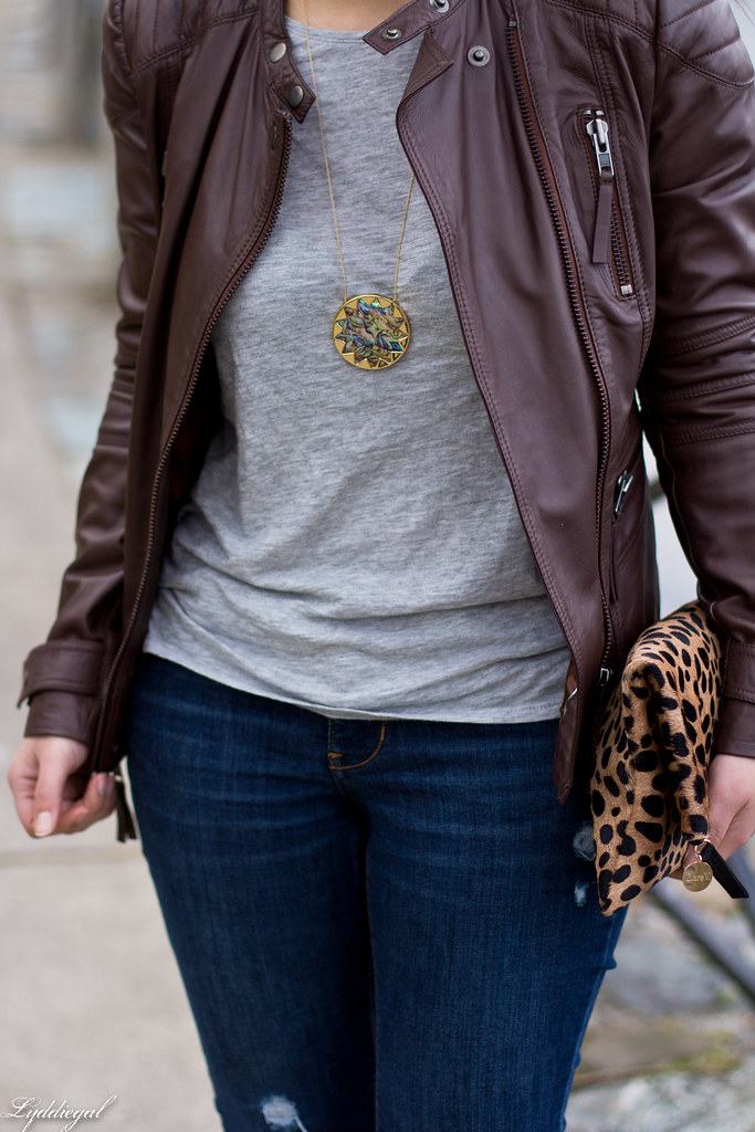 grey tee, brown leather jacket, leopard clutch-5.jpg
