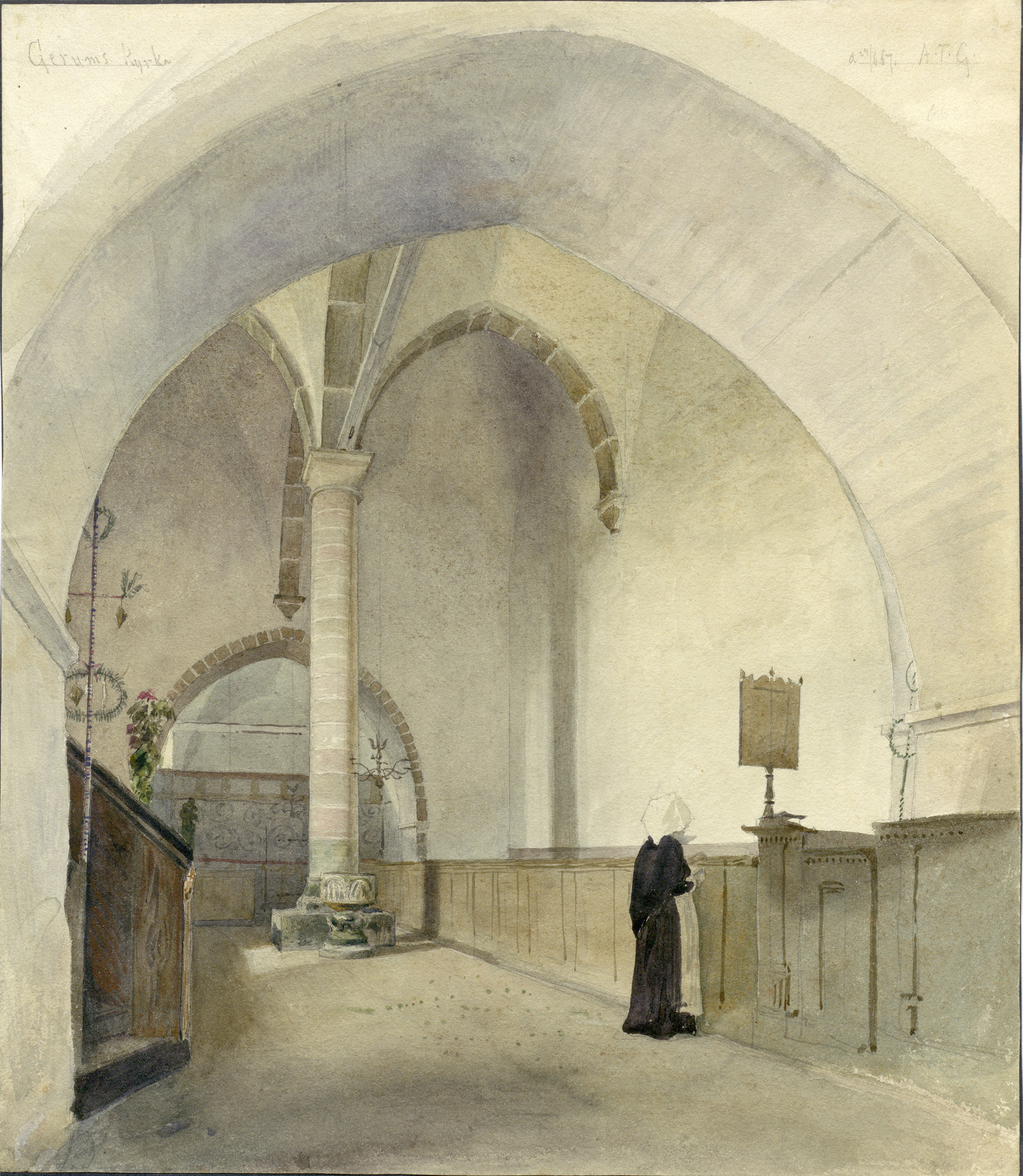 Woman in the interior of Gerum Church, Gotland, Sweden