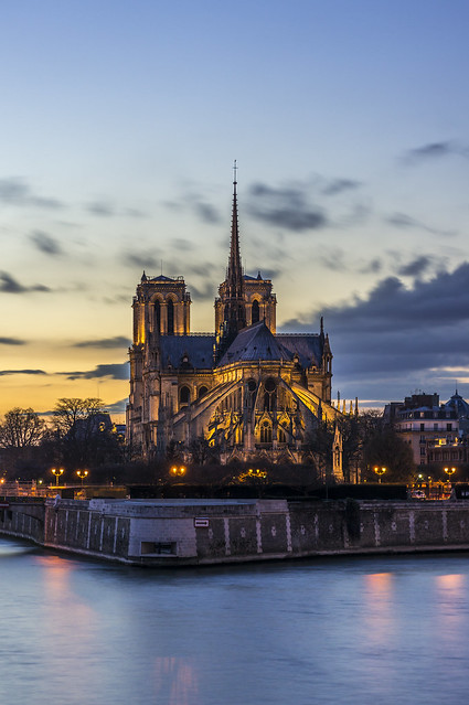 Notre-Dame at nightfall