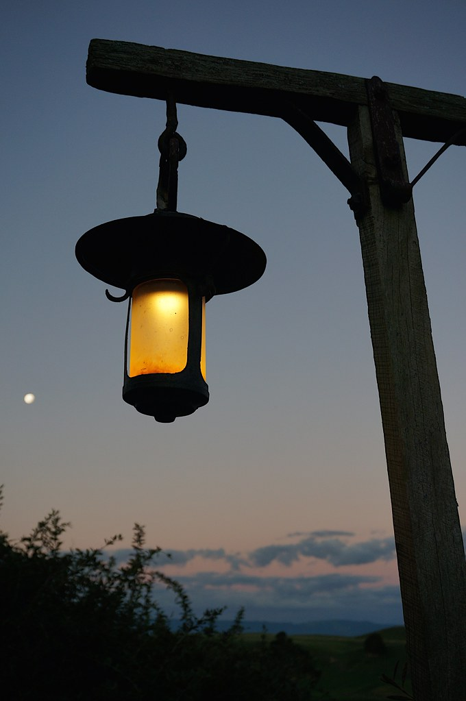 Moon and lantern lit up