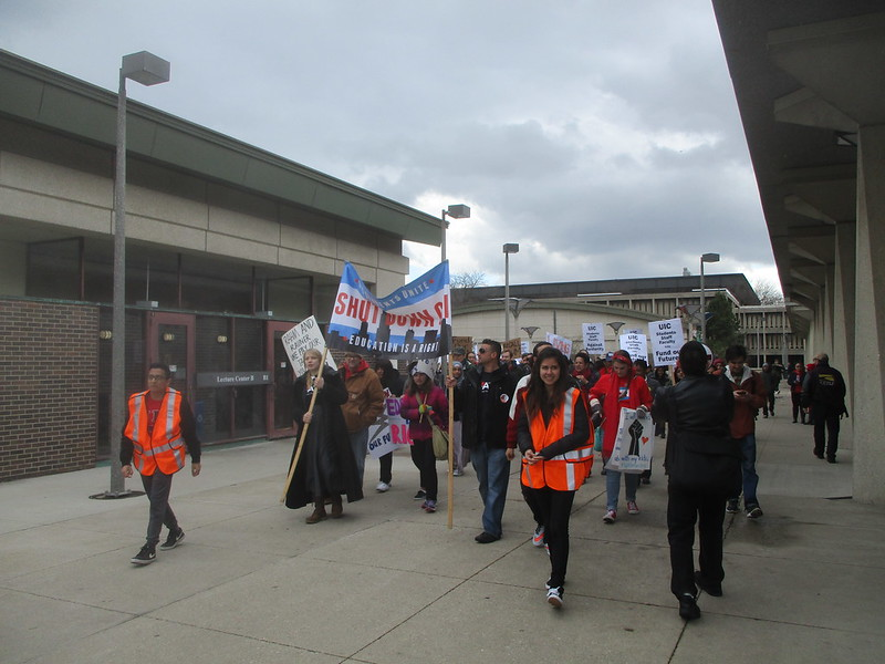 UIC Rally - Marching to UIC-Halsted 'L' Station