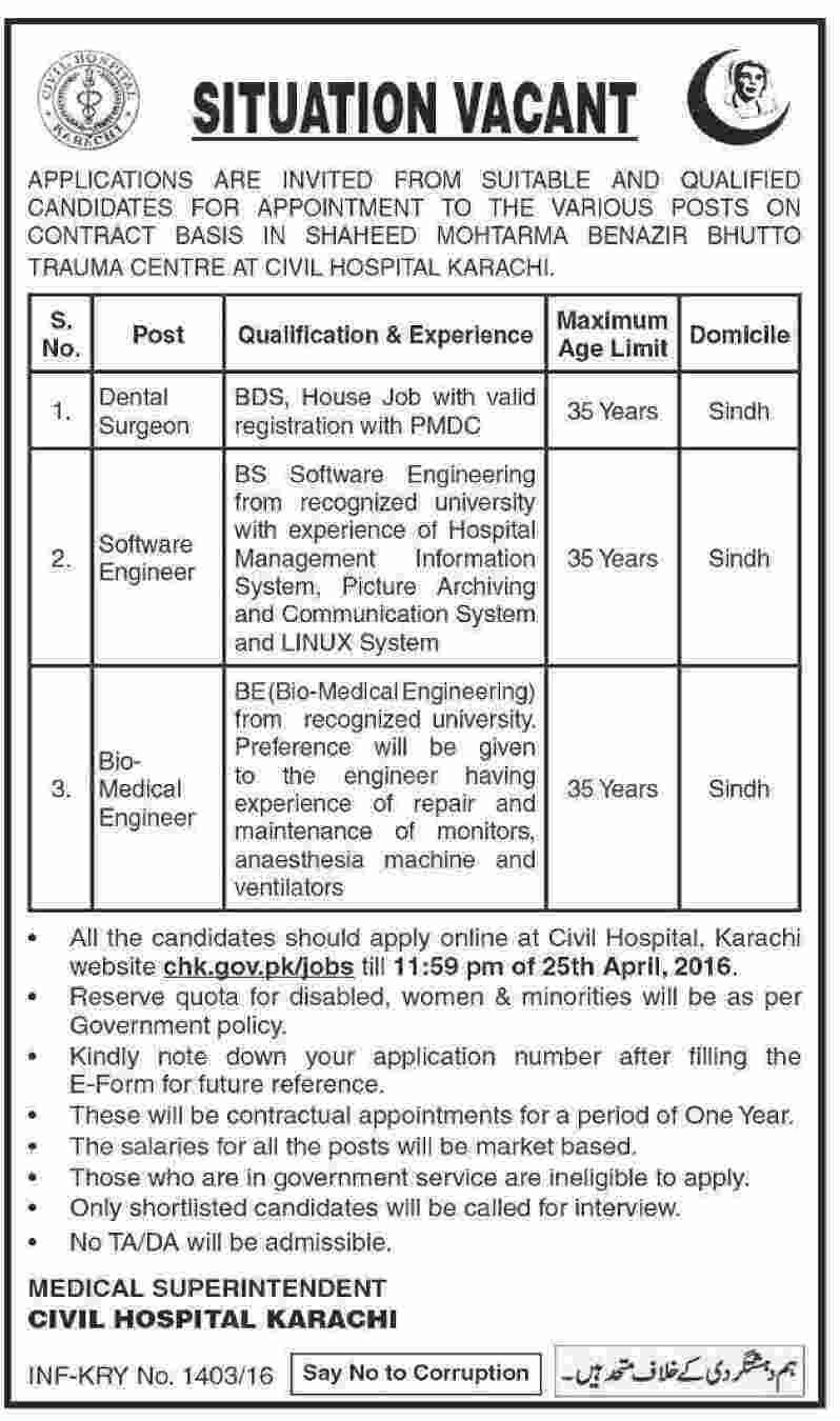 Civil Hospital Karachi Jobs 2016