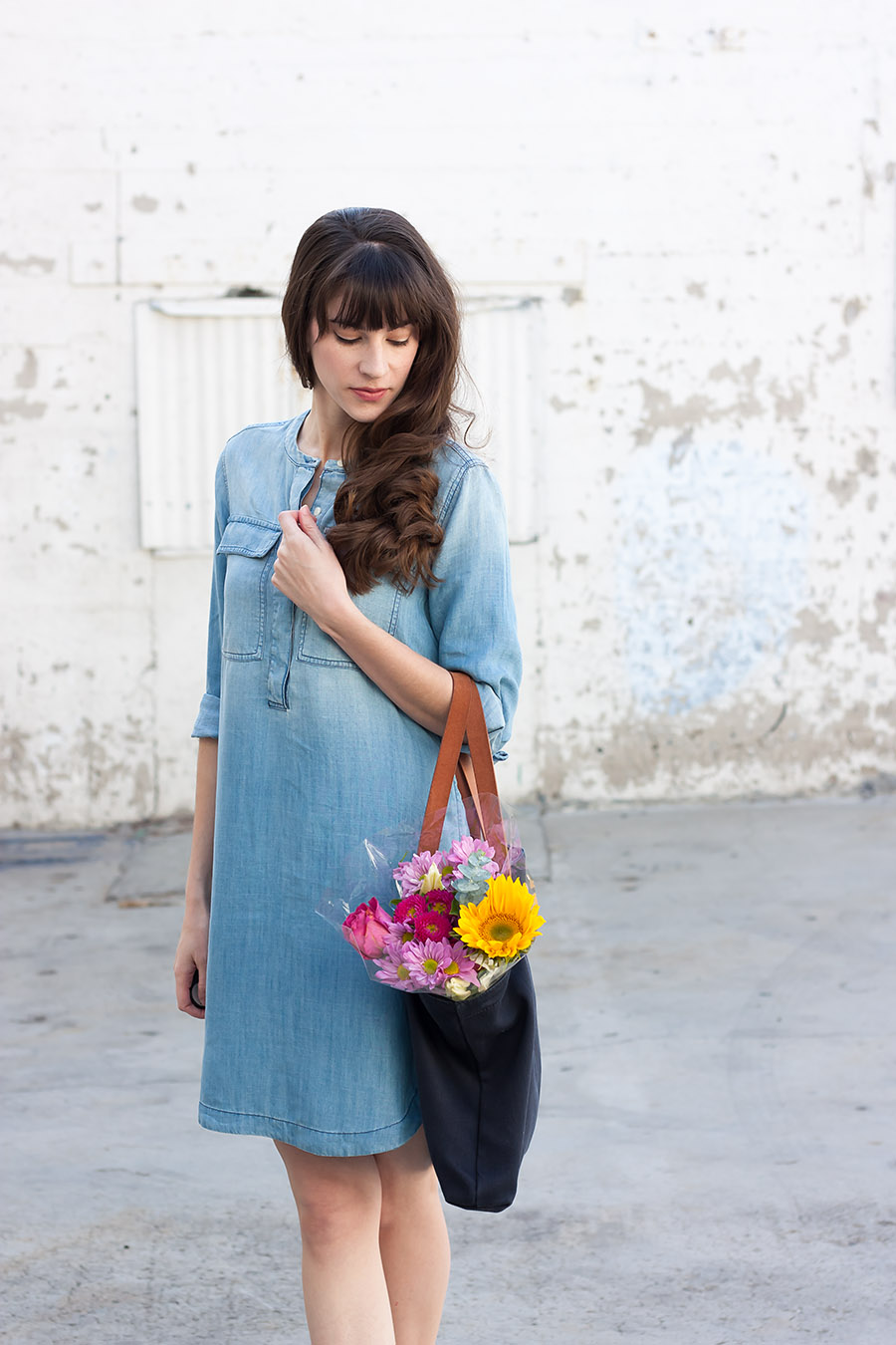 Chambray Dress, Spring Flowers in Bag