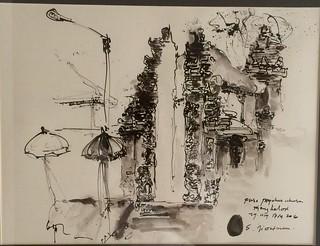 Jro Mangku Jiwatman, Pelataran Dalam Pura Pengukur Ukuran, 40 x 30 cm, Ink on Paper 2016