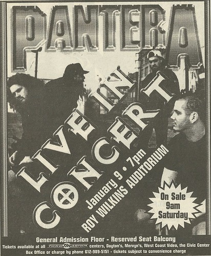 01/09/97 Pantera/ Neurosis @ Roy Wilkins Auditorium, St. Paul, MN (Ad 001)