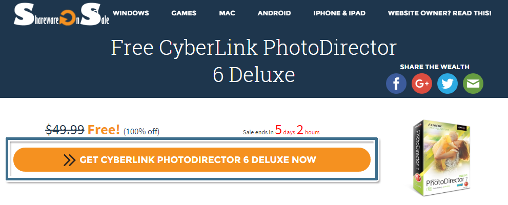 按一下 [GET CYBERLINK PHOTODIRECTOR 6 DELUXE]