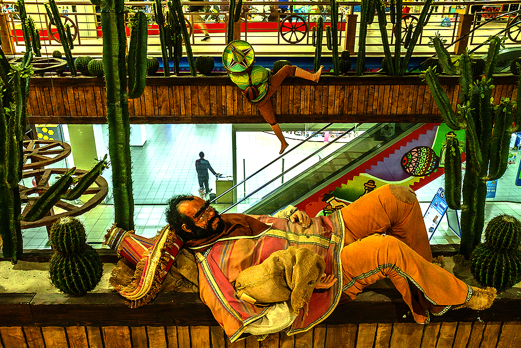 Two Mexican figures in Dream Town 2 Mall--Kiev
