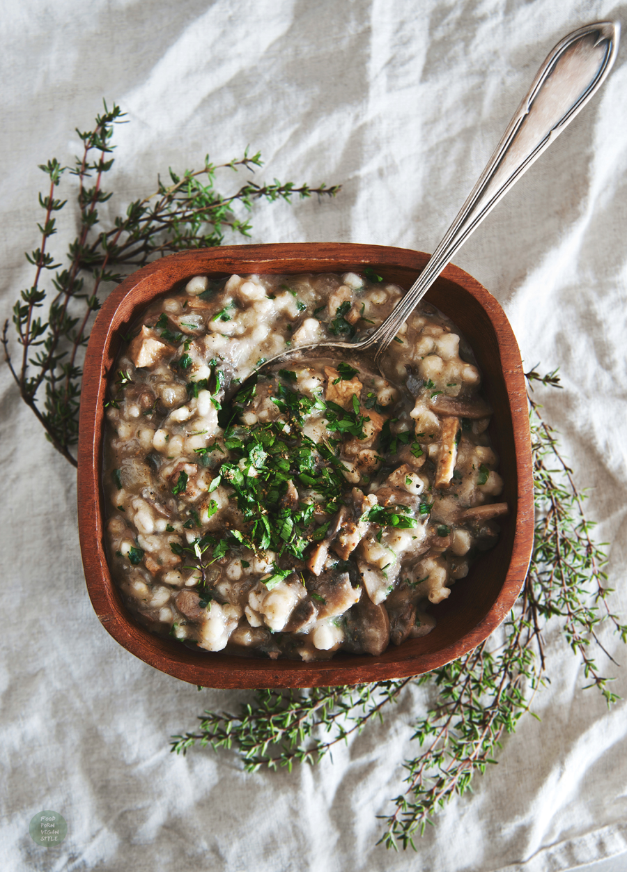 Vegan mushroom stew with pearl barley and tofu strips