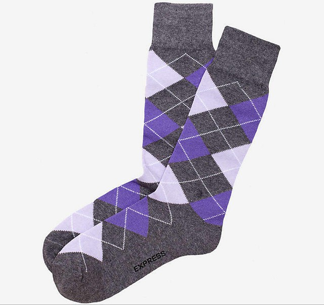 Well-Groomed Q&A Argyle Amethyst Grey Socks2