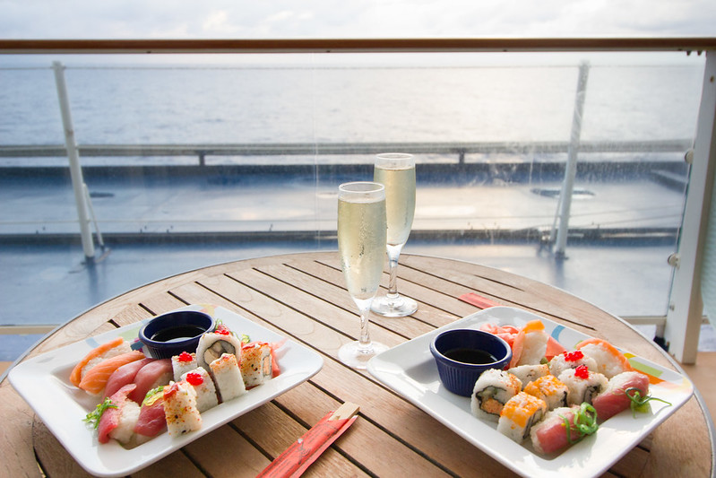 Celebrity Equinox: Sushi & Champagne on Balcony