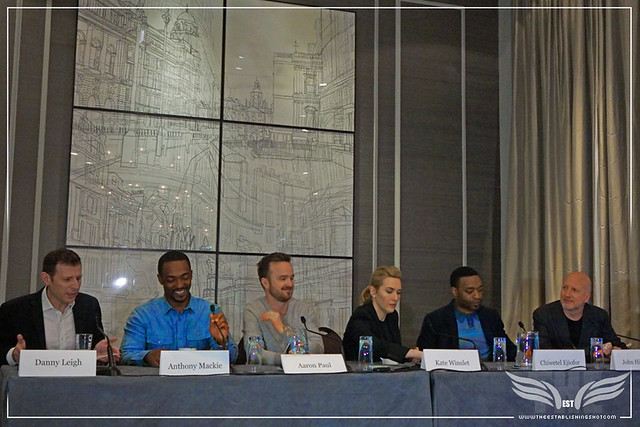 The Establishing Shot: TRIPLE 9 R-L TALENT DIRECTOR JOHN HILLCOAT, CHIWETEL EJIOFOR, KATE WINSLET, AARON PAUL & ANTHONY MACKIE - CORINTHIA HOTEL LONDON