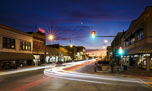 Notley Hawkins Photography, Downtown Columbia Missouri, Broadway Columbia Missouri, architecture, blue hour, light trails, long exposure, Como