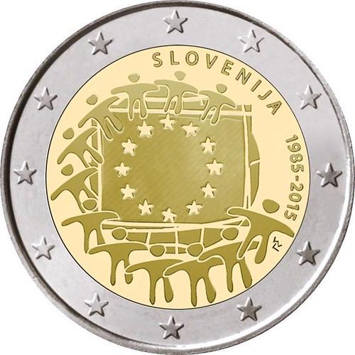 2 Euro Slovinsko 2015, Vlajka EÚ