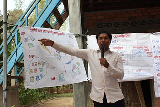 man with microphone pointing to illustrations on a hanging poster with future dreams for 2017 drawn