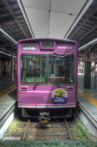 'RANDEN' tram at Arashiyama Station on APR 06, 2016 (1)