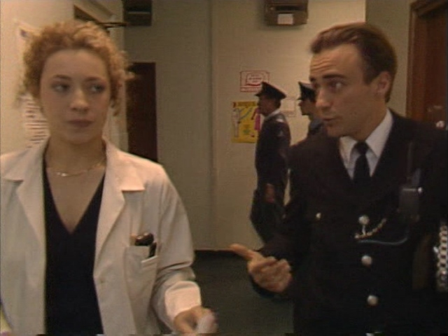 Alex Kingston and Nick Reding in The Bill (1988)