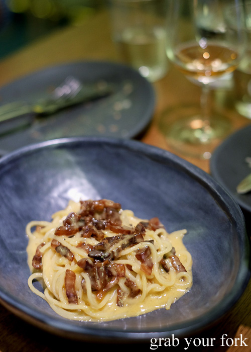 Spaghetti carbonara (no cream allowed) at Bar Brose, Darlinghurst