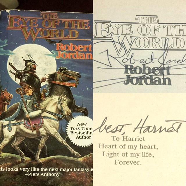 The great Wheel of Time re-read begins. The orignal copy I bought in 7th grade, the same book that had the honor to meet the eccentric author himself and many years later his wife, Harriet. #fullcircle #booknerd #wheeloftime #crazy