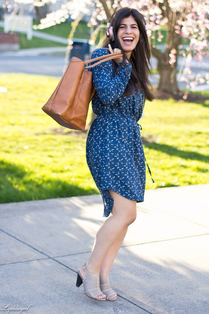dragonfly dress, brown tote, mules, marley headphones-4.jpg