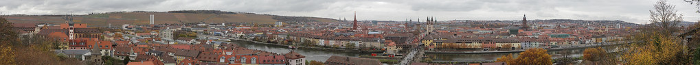 Panoramic view onto Würzburg from Marienberg Fortress