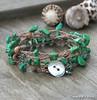 Green Turquoise Chip Boho Bracelet Wrap.