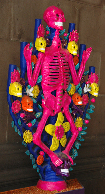 Hot pink skeleton for the Mexican Day of the Dead celebrations
