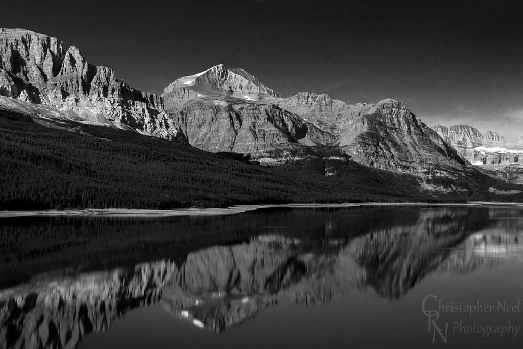 Lake Sherburne Reflection BW in Glacier National Park, MT - 20150802CRN