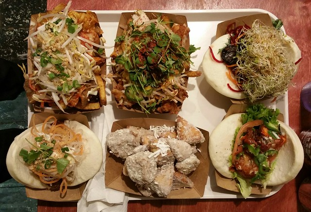 2016-Feb-8 Bao Down - kimchi fries (ul), japayoki fries (um), vevo (ur), snap kick one punch (lr), bao beignets (lm), bao chicka bao (ll)